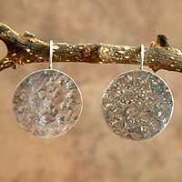 Silver dangle earrings, 'Moon Muse' - Silver dangle earrings
