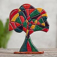 Cedar and mahogany sculpture, 'Tree of Life' - Artisan Crafted Fine Mahogany and Cedar Wood Tree Sculpture