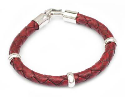 Men's braided leather bracelet, 'Bold Red' - Handmade Men's Leather Braided Bracelet with Sterling Silver