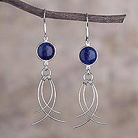 Sodalite dangle earrings, 'Soft Breeze' - Peru Silver And Sodalite Earrings Handmade Jewelry
