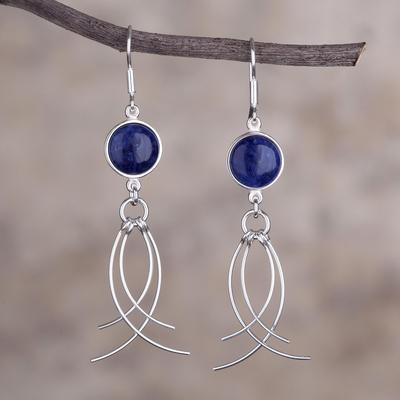 Sodalite Dangle Earrings Soft Breeze Peru Silver And Handmade Jewelry