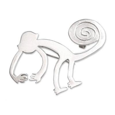 Silver brooch pin pendant, 'Playful Nazca Monkey' - Sterling Silver Monkey Brooch Pin
