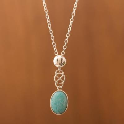 Amazonite pendant necklace, 'Tangled-Up' - Sterling Silver and Andean Amazonite Gemstone Necklace