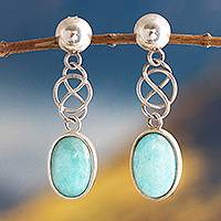 Amazonite dangle earrings, 'Tangled-Up'