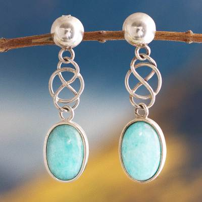 Amazonite dangle earrings, 'Tangled-Up' - Unique Peruvian Amazonite Earrings