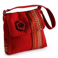 Alpaca shoulder bag, 'Apple Blossom' - Women's Aurora Red Alpaca Wool Shoulder Bag from Peru
