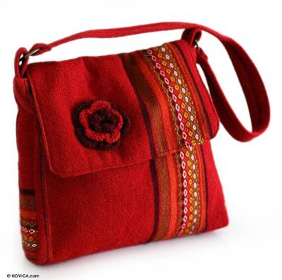 Alpaca shoulder bag, 'Apple Blossom' - Women's Red Floral Alpaca Wool Shoulder Bag