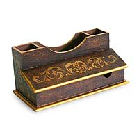 Cedar desk organizer, 'Colonial Classic' - Unique Peruvian Fair Trade Desk Organizer