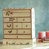 Decorative chest of drawers, 'Tulips' - Floral Wood Decorative Box