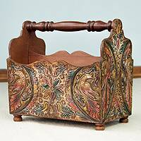 Mohena wood and leather magazine rack, 'Bird of Paradise'