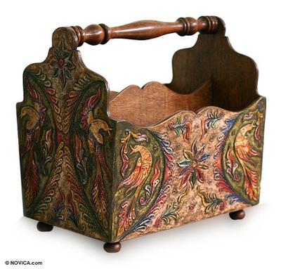 Mohena wood and leather magazine rack, 'Bird of Paradise' - Handmade Leather and Mohena Wood Magazine Rack