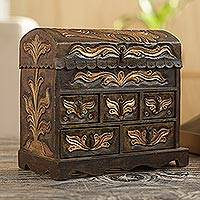 Wood and leather jewelry box, 'Antique Green' - Colonial Hand Tooled Leather Jewelry Box Chest