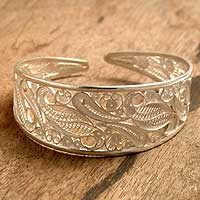 Silver filigree cuff bracelet, 'Floral Breeze'