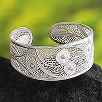 Bracelet, 'Moonlight Beauty' - Filigree Cuff Bracelet with Fine and Sterling Silver