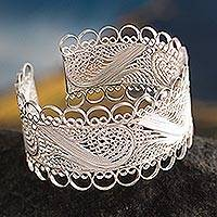 Silver filigree cuff bracelet, 'Royalty'
