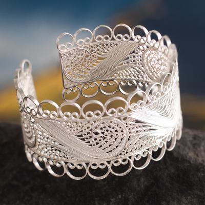 Silver filigree cuff bracelet, 'Royalty' - Sterling Silver Fine Silver Cuff Bracelet