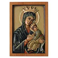 Cedar relief panel, 'Our Lady of Perpetual Help' - Hand Made Cedar Relief Panel