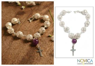Amethyst filigree bracelet, 'My Prayer' - Sterling Silver and Amethyst Filigree Bracelet