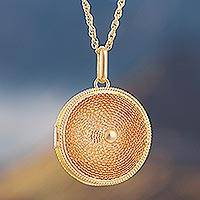 Gold plated locket necklace, 'Precious Secret'