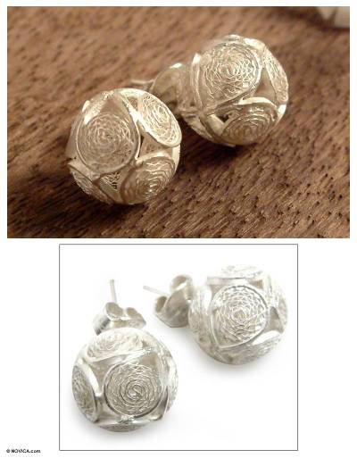 Silver filigree button earrings, 'Ball of Lace' - Handcrafted Sterling Silver Filigree Button Earrings