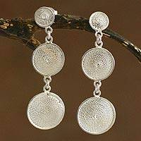 Silver filigree dangle earrings, 'Starlit Moons' - Handcrafted Sterling Silver Filigree Earrings
