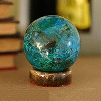 Chrysocolla sphere, 'Intuition' - Geometric Sculpture from Peru in Chrysocolla