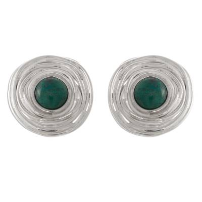 Handmade Silver and Chrysocolla Button Earrings