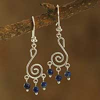 Lapis lazuli dangle earrings, 'Dreams' - Lapis lazuli dangle earrings