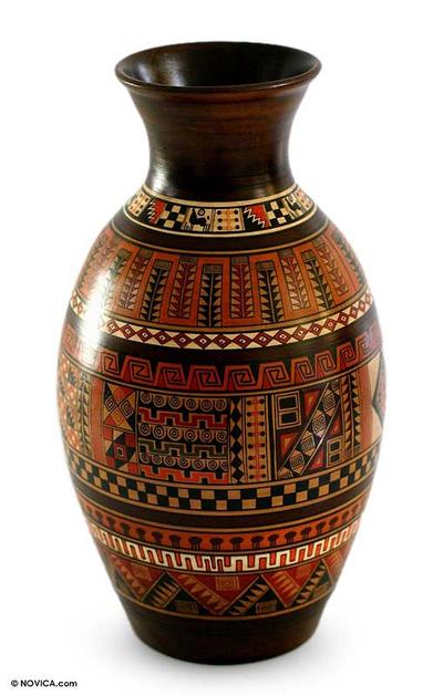 Ceramic vase, 'Sacred Inca Valley' - Handmade Cuzco Style Decorative Ceramic Vase