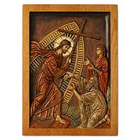 Cedar relief panel, 'The Risen Christ' - Hand Carved Cedar Religious Sculpture Relief Panel