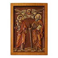 Cedar relief panel, 'Saint Peter and Saint Paul' - Fair Trade Religious Wood Relief Panel