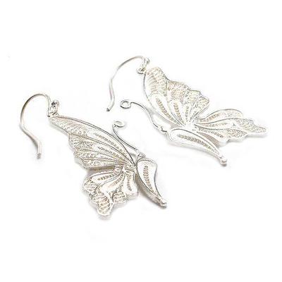 Silver filigree earrings, 'White Butterfly' - Unique Fine Silver Dangle Filigree Earrings