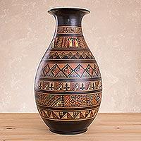 Aged Cuzco vase, 'Pisac Mythology'