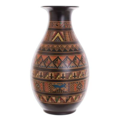 Aged Cuzco vase, 'Pisac Mythology' - Handpainted Cuzco Vase