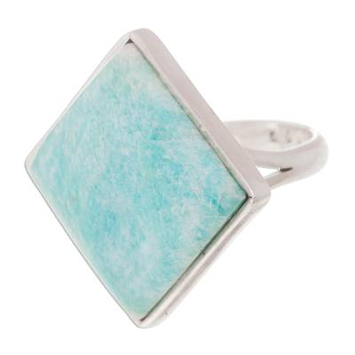 Modern Fine Silver Amazonite Cocktail Ring