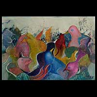 'Splashing Birds' (2009) - Abstract Oil Painting