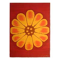 Wool tapestry, 'Andean Sunflower' - Wool Tapestry Red Wall Hanging