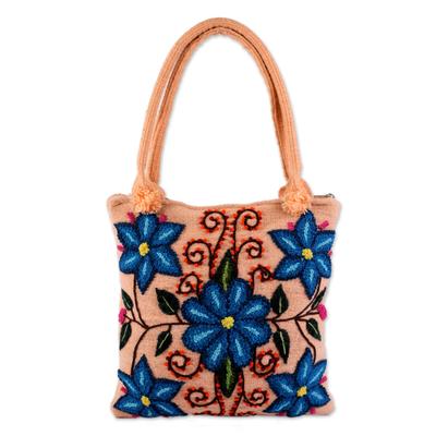 Wool shoulder bag, 'Andean Mosaic' - Wool shoulder bag