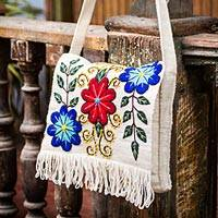 Wool flap shoulder bag, 'Snow Messenger' - Hand Embroidered Wool Shoulder Bag