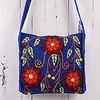 Wool shoulder bag, 'Valley Flower' - Artisan Crafted Floral Wool Embroidered Shoulder Bag