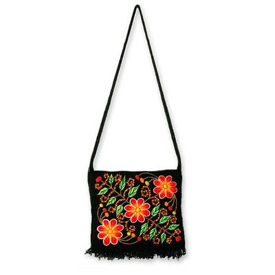 Wool flap shoulder bag, 'Spring Night' - Fair Trade Embroidered Wool Handbag