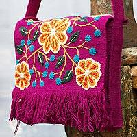Wool flap shoulder bag, 'Andean Kaleidoscope' - Wool flap shoulder bag