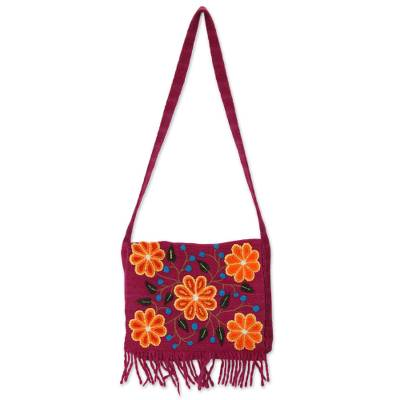 Novica Wool shoulder bag, Andean Floral - Handcrafted Floral Wool Shoulder Bag