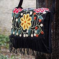Wool flap shoulder bag, 'Tarma Muse' - Floral Embroidered Wool Shoulder Bag