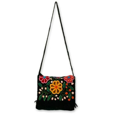 Wool flap shoulder bag, 'Tarma Muse' - Floral Embroidered Wool Shoulder Bag