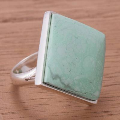 Variscite cocktail ring, 'Endless Ocean' - Hand Crafted Peruvian Fine Silver Cocktail Ring