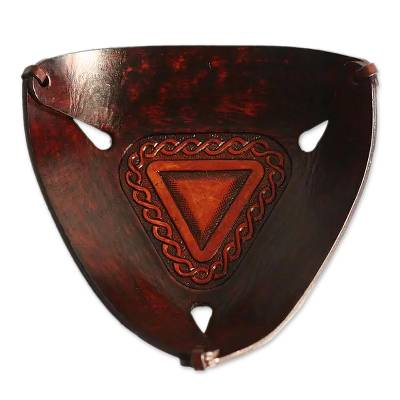 Leather catchall, 'Pyramid Chains' - Triangular Hand Tooled Leather Catch All from Peru