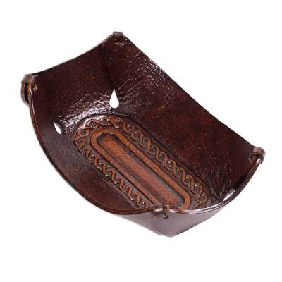 Leather catchall, 'Lasso Labyrinth' - Peruvian Dark brown Hand Tooled Leather Catchall