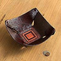 Leather catchall, 'Lasso Window' - Squared Brown Hand Tooled Peruvian Leather Catchall