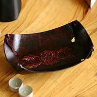 Leather catchall, 'Sunflower Garland' - Hand Crafted Leather Bowl centrepiece Catch All